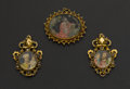 Estate Jewelry:Pendants and Lockets, Unusual Antique Reverse Painting On Glass Gold Pendants. ...(Total: 3 Items)