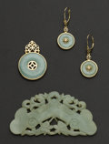 Estate Jewelry:Coin Jewelry and Suites, Jade & Gold Pendant Earrings & A Piece Of Carved Jade. ...(Total: 3 Items)