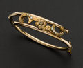 Estate Jewelry:Bracelets, Early 18k Gold & Pearl Bangle. ...