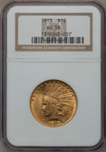 Indian Eagles: , 1913 $10 AU58 NGC. NGC Census: (788/4523). PCGS Population(755/3341). Mintage: 442,071. Numismedia Wsl. Price for problem ...