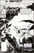 Original Comic Art:Covers, Steve Lightle Marvel Comics Presents #117 Ghost Rider andIron Fist Back Cover Original Art (Marvel, 1992)....