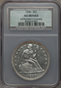 1846 $1 -- Improperly Cleaned -- NCS. AU Details. NGC Census: (32/259). PCGS Population (78/216). Mintage: 110,600. Numi...
