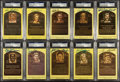 Autographs:Sports Cards, Signed Yellow Baseball HoF Plaque Post Cards PSA/DNA Collection(10). ...