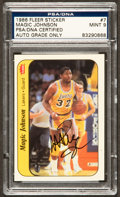 Basketball Collectibles:Others, Magic Johnson Signed 1986 Fleer Sticker #7 PSA/DNA Mint 9. ...