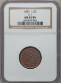 Half Cents: , 1857 1/2 C MS62 Brown NGC. C-1. NGC Census: (69/197). PCGSPopulation (53/120). Mintage: 35,180. Numismedia Wsl. Price for...