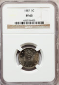 Proof Liberty Nickels: , 1887 5C PR65 NGC. NGC Census: (169/48). PCGS Population (135/51).Mintage: 2,960. Numismedia Wsl. Price for problem free NG...