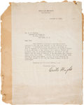 "Autographs:Celebrities, Orville Wright Typed Letter Signed ""Orville Wright.""..."