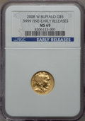 Modern Bullion Coins, 2008-W $5 Tenth-Ounce Gold Buffalo, Early Releases MS69 NGC. .9999Fine. PCGS Population (146/544). (#...