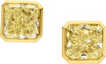 Estate Jewelry:Earrings, Fancy Yellow Diamond, Gold Earrings. ...
