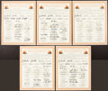 Football Collectibles:Others, 1964 Cleveland Browns Team Signed Oversized Honorary Certificate - Lot of 5....