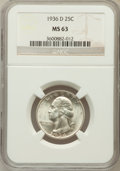 1936-D 25C MS63 NGC. NGC Census: (170/516). PCGS Population (294/1055). Mintage: 5,374,000. Numismedia Wsl. Price for pr...