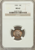 Barber Dimes: , 1903 10C MS62 NGC. NGC Census: (20/76). PCGS Population (24/95).Mintage: 19,500,756. Numismedia Wsl. Price for problem fre...