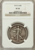 Walking Liberty Half Dollars: , 1919-S 50C VF25 NGC. NGC Census: (15/292). PCGS Population(26/423). Mintage: 1,552,000. Numismedia Wsl. Price for problem ...