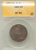 Seated Half Dollars: , 1866 50C Motto XF40 ANACS. NGC Census: (3/71). PCGS Population(8/80). Mintage: 744,900. Numismedia Wsl. Price for problem ...