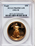 Modern Bullion Coins: , 1993-W G$50 One-Ounce Gold Eagle PR69 Deep Cameo PCGS. PCGSPopulation (1755/77). NGC Census: (1023/325). Mintage: 34,389. ...