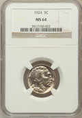 Buffalo Nickels: , 1924 5C MS64 NGC. NGC Census: (247/141). PCGS Population (398/286).Mintage: 21,620,000. Numismedia Wsl. Price for problem ...