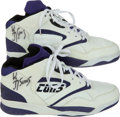 Basketball Collectibles:Others, 1980's Game-Worn Converse Signed Shoes Attributed to Kevin Johnson....