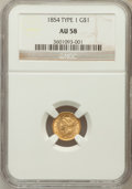 Gold Dollars: , 1854 G$1 Type One AU58 NGC. NGC Census: (392/2992). PCGS Population(486/1256). Mintage: 855,502. Numismedia Wsl. Price for...
