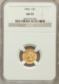 Gold Dollars: , 1855 G$1 AU55 NGC. NGC Census: (892/3474). PCGS Population(528/1669). Mintage: 758,269. Numismedia Wsl. Price for problem ...
