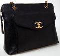 Luxury Accessories:Bags, Heritage Vintage: Chanel Black Caviar Leather Turnlock Shoulder BagTote with Gold Hardware. ...
