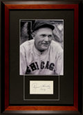 Baseball Collectibles:Others, 1958 Rogers Hornsby Signed Cut Display....
