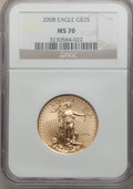 Modern Bullion Coins, 2008 $25 Gold Eagle 1/2 Oz MS70 NGC. NGC Census: (0). PCGSPopulation (0). (#393100)...