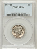 Buffalo Nickels: , 1917-D 5C MS64 PCGS. PCGS Population (337/145). NGC Census:(202/56). Mintage: 9,910,000. Numismedia Wsl. Price for problem...