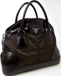 Luxury Accessories:Bags, Heritage Vintage: Prada Black Leather and Hunter Green NylonBauletto Bowler Bag. ...