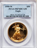 Modern Bullion Coins: , 1990-W G$50 One-Ounce Gold Eagle PR70 Deep Cameo PCGS. PCGSPopulation (181). NGC Census: (668). Mintage: 62,401. Numismedi...