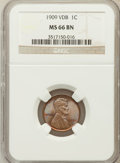 Lincoln Cents: , 1909 VDB 1C MS66 Brown NGC. NGC Census: (26/1). PCGS Population(10/0). Mintage: 27,995,000. Numismedia Wsl. Price for prob...