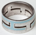 Luxury Accessories:Accessories, Heritage Vintage: Hermes Sterling Silver and Blue EnamelInterlocking H Ring. ...