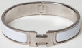 Luxury Accessories:Accessories, Heritage Vintage: Hermes Silver and White Enamel Narrow Clic HBracelet. ...