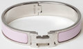Luxury Accessories:Accessories, Heritage Vintage: Hermes Silver and Pink Enamel Narrow Clic HBracelet. ...