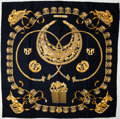 "Luxury Accessories:Accessories, Heritage Vintage: Hermes Black and Gold ""Les Cavaliers D'or,"" byRybal Silk Scarf. ..."