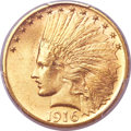 Indian Eagles, 1916-S $10 MS64+ PCGS. CAC....