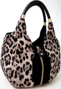 Luxury Accessories:Bags, Heritage Vintage: Jimmy Choo Black Suede and Leopard Print Pony-Hair Hobo Bag. ...