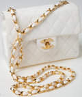 Luxury Accessories:Bags, Heritage Vintage: Chanel White Lambskin Leather Small Single FlapShoulder Bag with Gold Hardware. ...