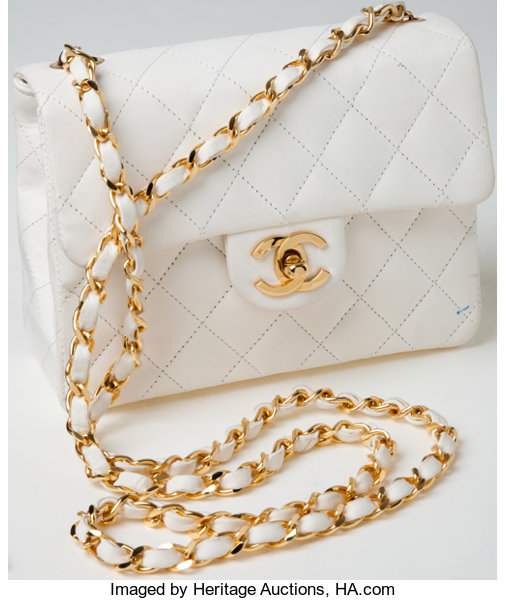 ... Luxury Accessories Bags, Heritage Vintage  Chanel White Lambskin  Leather Small Single FlapShoulder Bag ... 0f8f827e62