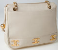 Luxury Accessories:Bags, Heritage Vintage: Chanel Cream Caviar Leather Shoulder Bag Totewith Gold Hardware. ...