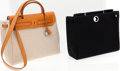 Luxury Accessories:Bags, Heritage Vintage: Hermes Black Canvas and Toile Herbag ShoulderBag. ...