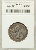 Early Quarters: , 1804 25C VF25 ANACS. NGC Census: (2/32). PCGS Population (15/34).Mintage: 6,738. Numismedia Wsl. Price for problem free NG...