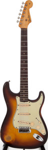 Musical Instruments:Electric Guitars, 1959 Fender Stratocaster Sunburst Solid Body Electric Guitar, Serial # 32866....