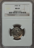 Buffalo Nickels: , 1920 5C MS63 NGC. NGC Census: (148/471). PCGS Population (241/833).Mintage: 63,093,000. Numismedia Wsl. Price for problem ...