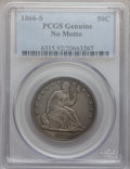 Seated Half Dollars, 1866-S 50C No Motto PCGS Genuine. The PCGS number ending in .92 suggests cleaning as the reason, or perhaps one of the reas...