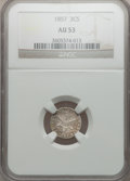 Three Cent Silver: , 1857 3CS AU53 NGC. NGC Census: (2/289). PCGS Population (3/231).Mintage: 1,042,000. Numismedia Wsl. Price for problem free...