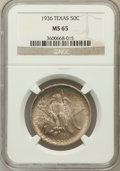 Commemorative Silver: , 1936 50C Texas MS65 NGC. NGC Census: (529/629). PCGS Population(857/736). Mintage: 8,911. Numismedia Wsl. Price for proble...