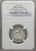 Seated Quarters: , 1888-S 25C -- Improperly Cleaned -- NGC Details. Unc. NGC Census:(0/88). PCGS Population (1/65). Mintage: 1,216,000. Numis...