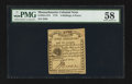 Colonial Notes:Massachusetts, Massachusetts 1779 4s 6d PMG Choice About Unc 58.. ...