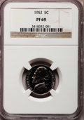 Proof Jefferson Nickels: , 1952 5C PR69 NGC. NGC Census: (26/0). Mintage: 81,980. NumismediaWsl. Price for problem free NGC/PC...