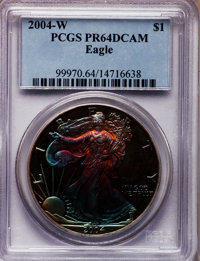 2004-W $1 Silver Eagle PR64 Deep Cameo PCGS. PCGS Population (2/8515). NGC Census: (1/22101). Numismedia Wsl. Price for...
